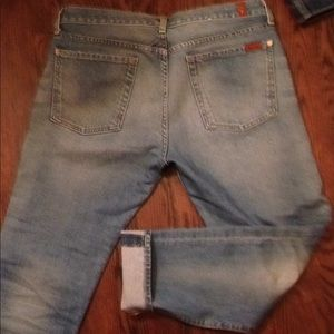 7 for all mankind jeans, skinny, faded, light wear